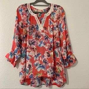 Spense Floral print  Boho Top Sz XL